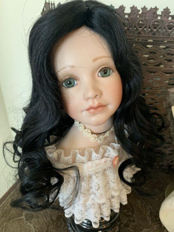 "Human Hair Doll Wig, Long fine, ELISE 13-14""  Black GLOBAL, clearance priced!"