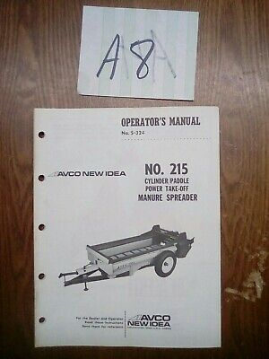 New Idea 215 Cylinderpaddle Pto Manure Spreader Operator Parts Manual Nos