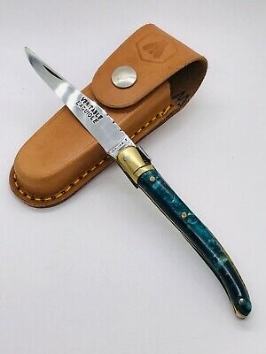 Old LAGUIOLE Blue Pearl? Veritable Brossard France Folder knife Handmade 17CM