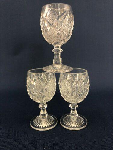 3 U.S. Glass clear pressed glass wine goblets PENNSYLVANIA or Balder c.1898