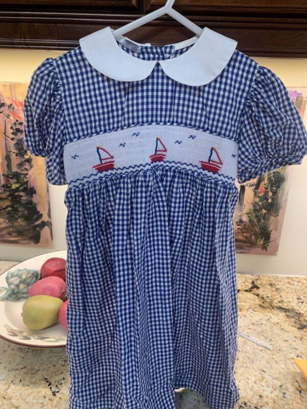 Girl's  Smocked Dress Blue White Gingham 4T Sailboats