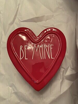 Rae Dunn Be Mine Heart Shaped Jewelry Box Red Ceramic New With Tags
