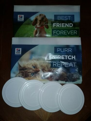 4 Pet Food Can Covers And 2 Bags