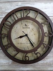 "First Time Clock V99 brown nice Kitchen Clock Decor 8"" Tested used"