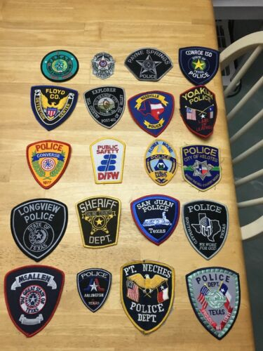 NICE LOT OF 20 TEXAS POLICE  SHOULDER PATCHES  TX09