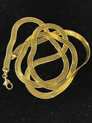 Thick Gold Tone Fancy Snake Chain Necklace Extra Long Vintage 80's covid 19 (Gold Tone Snake Necklace coronavirus)