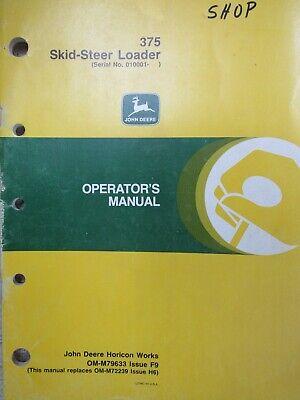 Operators Manual John Deere 375 Skid-steer Loader Issue F9