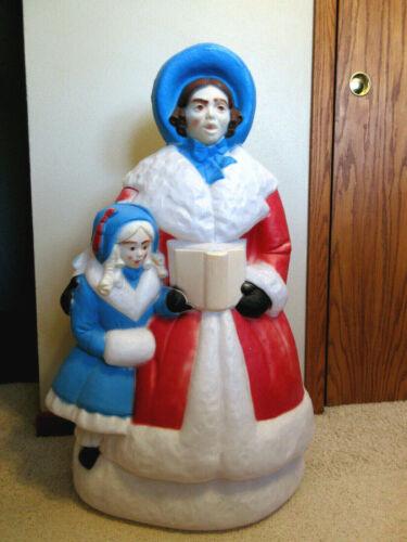 "Vtg Empire Christmas Dickens Woman & Girl Christmas Caroler Blow Mold - 35"" Tall"