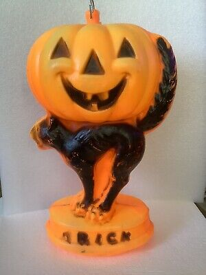 VTG 1969 HALLOWEEN BLOW MOLD EMPIRE SCARECROW PUMPKIN JACK O LANTERN LIGHT 14""