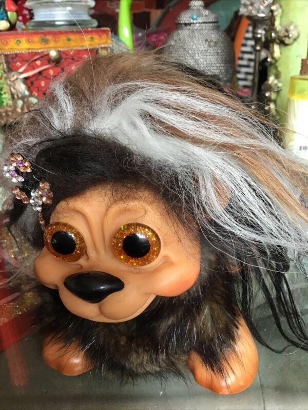 Ugly Troll Animal Lion by Thomas Dam 1960's Brown Hair Amber Glass Eyes Denmark