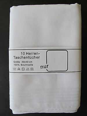 10 Taschentücher weiß - Mako Baumwolle 100 %  Herrentaschentücher