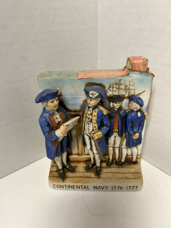 VTG 1975 Haas Brothers Whiskey Flask Decanter Continental Navy1976-1977Porcelain