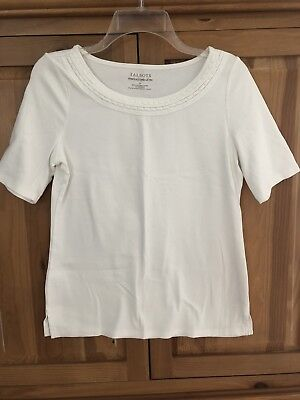 Womens TALBOTS Stretch Weekend Tee White 3/4 Sleeve SIZE M Excellent
