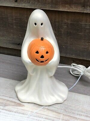 "Vintage 9.5"" Ceramic Halloween Ghost Holding A Jack-o-Lantern With Light"