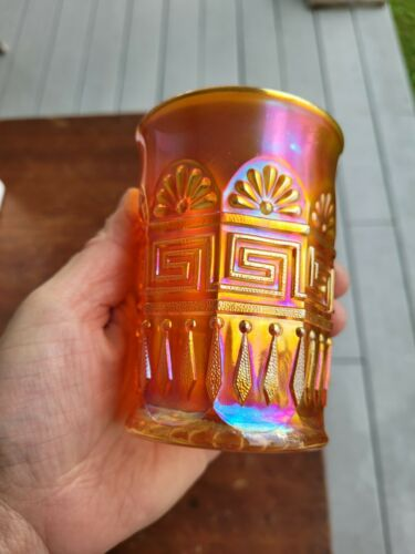 Wow Dark Marigold Northwood Carnival Glass Greek KeyTumbler No Damage