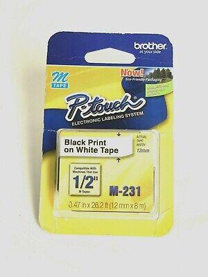 12 12mm Black On White P-touch M Tape For Brother Pt-90 Pt90 Label Maker