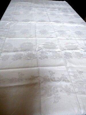White Chrysanthemum Flower Jacquard  Linen Tablecloth 71x72 Fine Dining