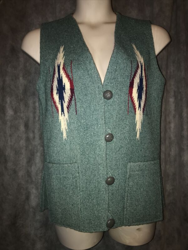 Sz S ORTEGA'S All Wool Handwoven Teal Vest Womens Chimayo NM Awesome