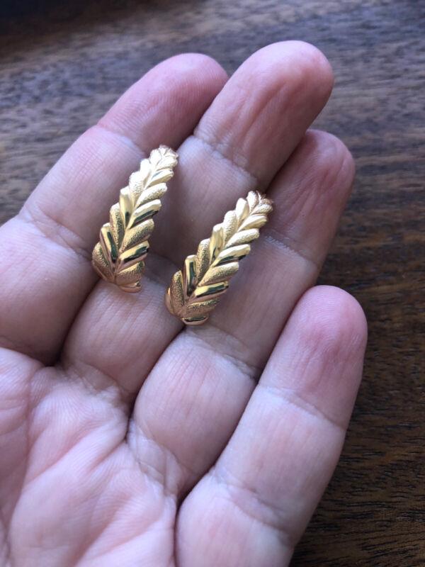 SOLID 14k  GOLD Fern Simple Minimal Stud Vintage Antique EARRINGS