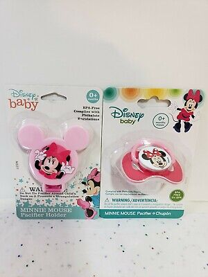 🌸Disney Baby Girl👶Minnie Mouse🌸 Pink Pacifier/Paci & Holder Set•BPA Free NIP