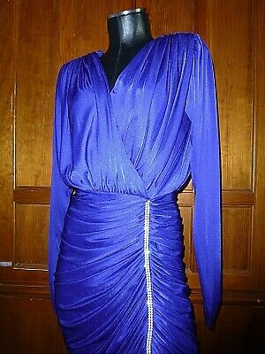 80s Dresses | Casual to Party Dresses Vtg 80s Silky Ruched Jersey Royal Blue Rhinestones Evening Cocktail Party DRESS $47.20 AT vintagedancer.com