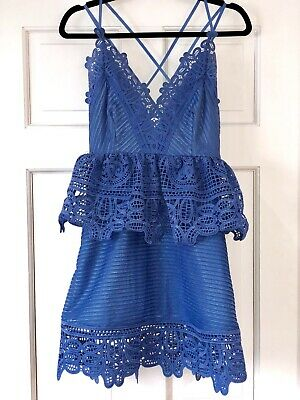 (Authentic Self-Portrait Blue Lace Cocktail Party Dress, USA Size 2, UK Size 6)