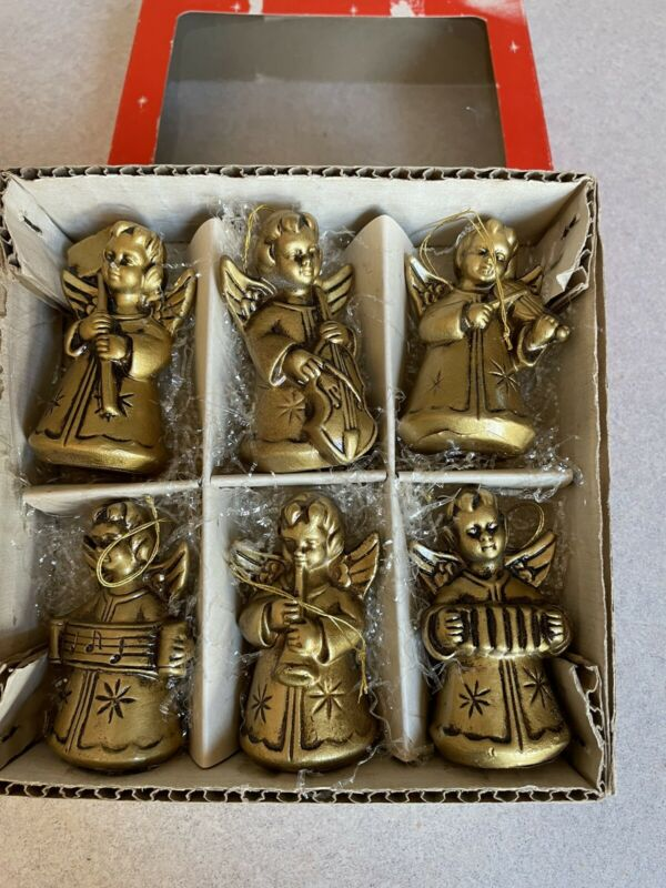 NOS In Box 6 Vintage Gold Resin Band of Angels Christmas Ornaments Japan
