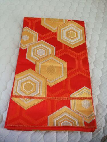 Japanese KIMONO FUKURO OBI Red Orange base color, Double Kikkoh  Y5