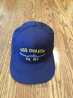 USS DULUTH CL 87 Hat Cap Blue Embroidered EUC