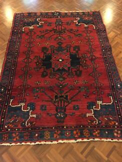 Medium antique Persian tribal rug - dark red and navy