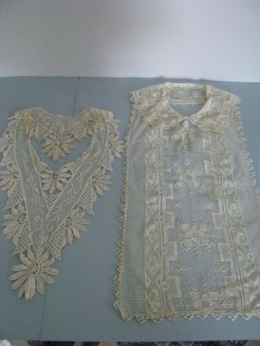 VINTAGE 1930 CREAM LACE JABOT BOW DICKEY COLLAR DRESS TRIM ORIGINALS DECO