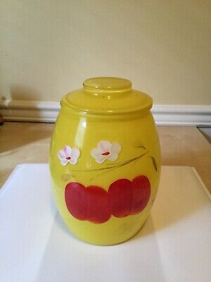 Bartlett collins yellow glas cookie jar red apples ith blossom vintage cookie ja Collins Glas