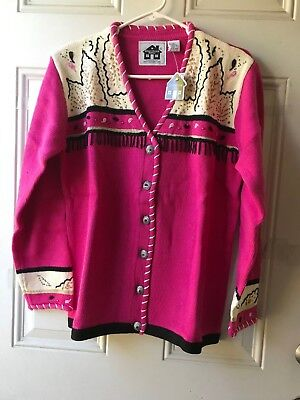 STORYBOOK KNITS NWT Sweater, Size Small, beaded decorations on hot pink (Storybook Decorations)
