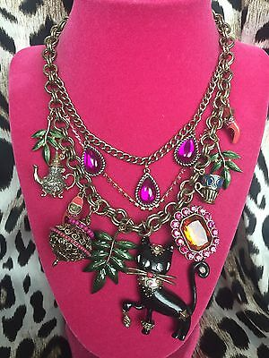 Betsey Johnson Moroccan Morocco Adventure Black Cat Teapot Slipper Necklace RARE