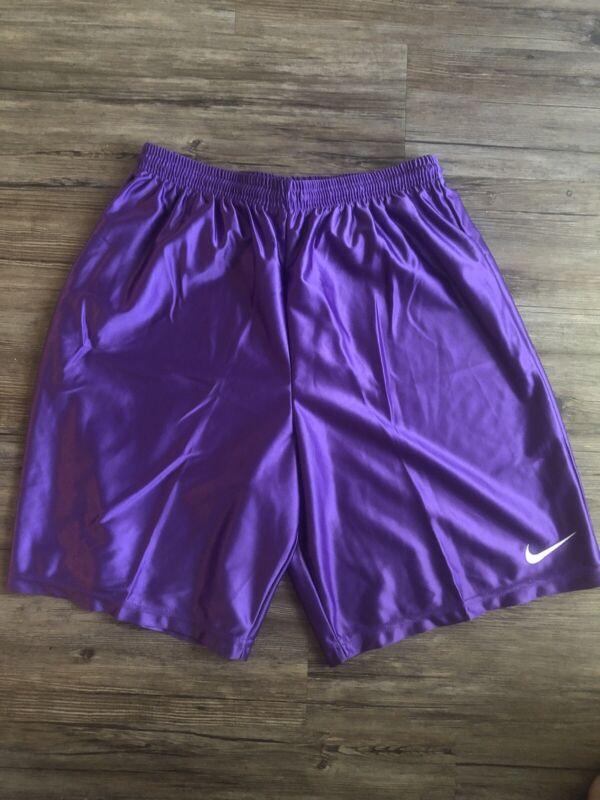 Nike Polyester Soccer Shorts Vintage Purple Swoosh Men Sz M Rare Shiny Sexy