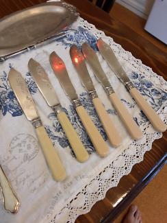 Silver and Bone Fish Knives