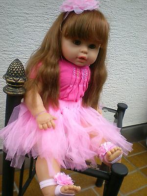 große Zapf Puppe 62 cm braune lange Haare + viel Babykleidung, Spielpuppe Doll