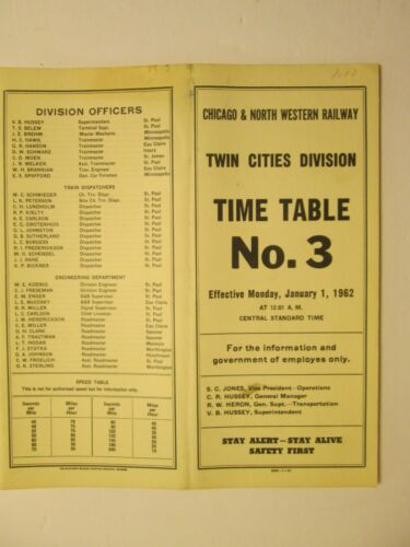 Chicago & North Western Time Table No. 3 Twin Cities Division Jan. 1, 1962