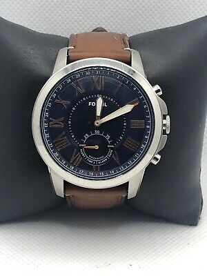 Fossil Q FTW1122 Men's Brown Leather Analog Blue Dial Hybrid Smart Watch HK190