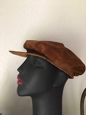 Vintage Handmade Leather Suede Newsboy Hat Paper Boy Cap