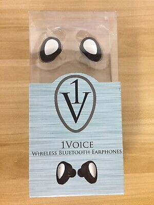 - 1 Voice Wireless Bluetooth Earphones With Charging Case - 1V_HP_10, Black