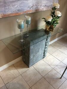 Glass/stone side table