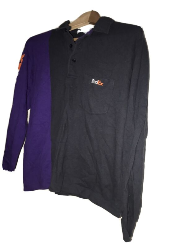 Vintage Fedex Stan Herman Pocket Polo Shirt LS Women L Big Logo