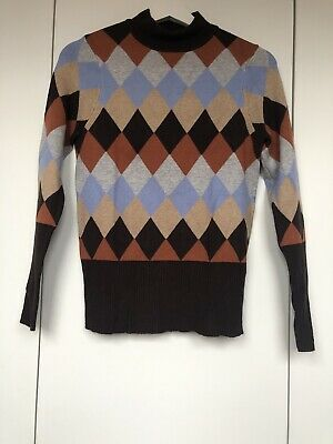 M&S Brown Vintage Printed Knitted Turtle Neck Jumper Size 12