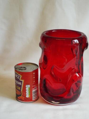 "Large 8.5""  Whitefriars cased ruby knobbly vase."
