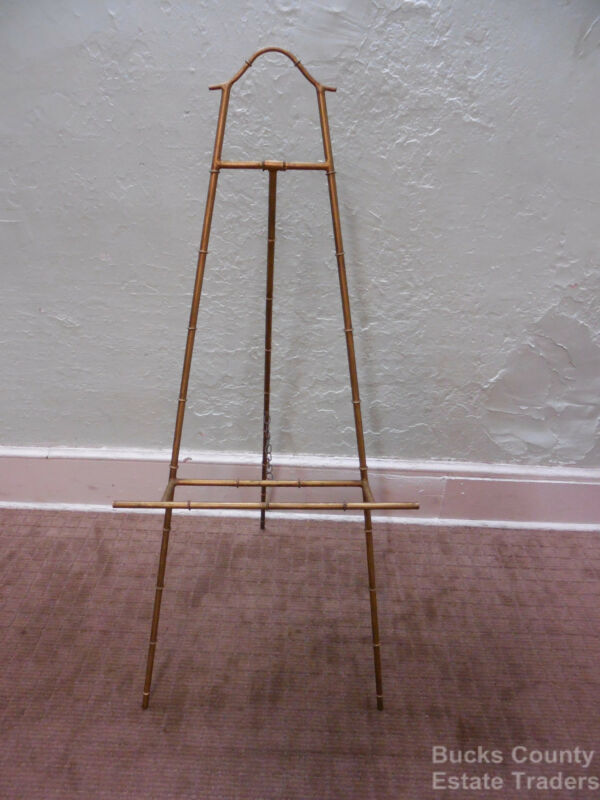 Hollywood Regency Faux Bamboo Gilt Metal Art Easel