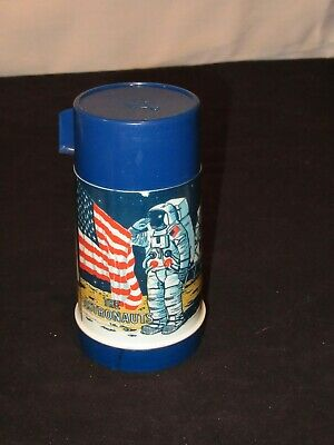 THE ASTRONAUTS 1969 PLASTIC THERMOS BOTTLE for METAL LUNCHBOX by ALADDIN NASA