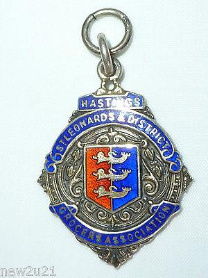 Art Deco Silver Enamel Fob Medal Hastings St Leonards District Grocers Assoc