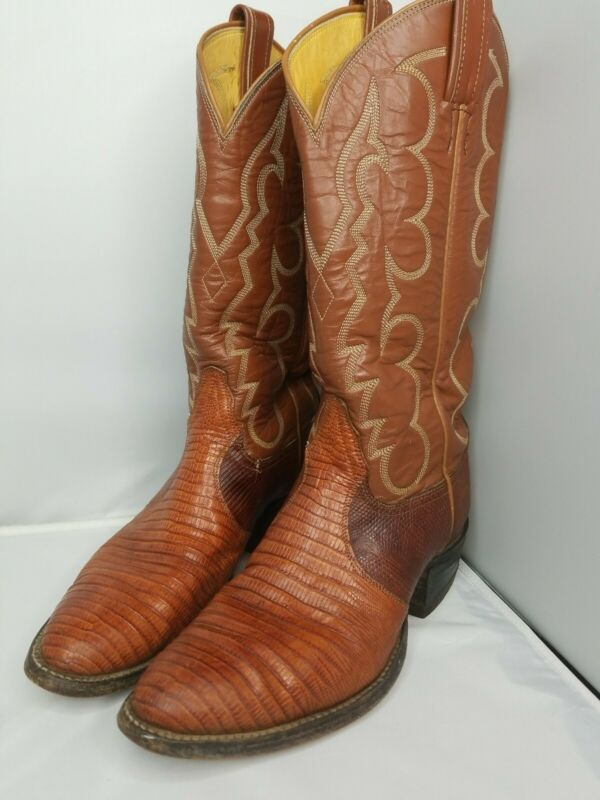 Vintage, Tony, Lama, Cowboy, Boots, Lizard, Skin, Brown, Style, 8025, Size, 7, US, Mens