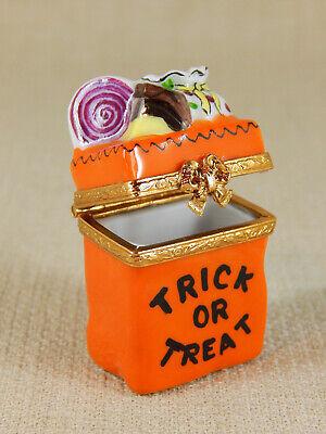 Limoges Artoria Halloween Hinged Trinket Box. Orange Trick or Treat Candy Bag,  (Limoges Halloween)